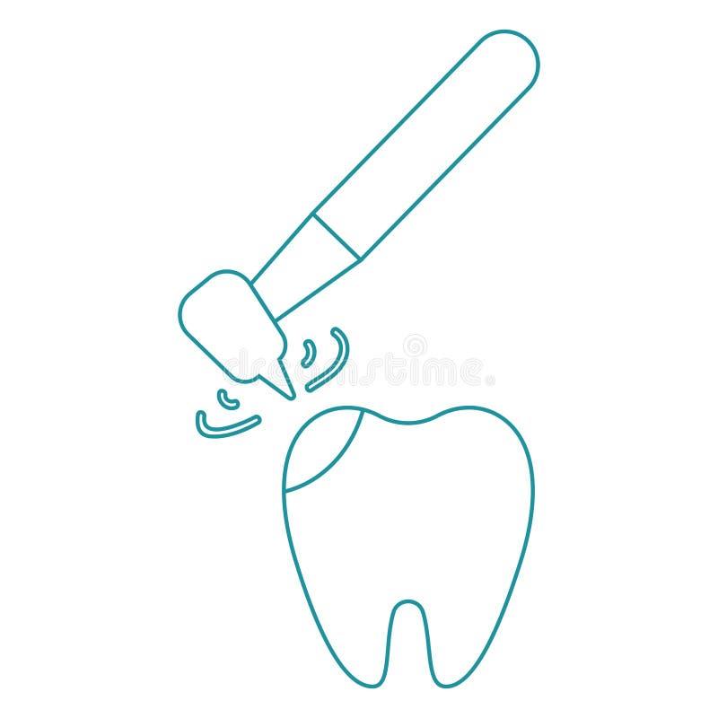 Tratamento da c?rie Perfurando um dente dentistry Broca dental O tratamento das dores de dente linha ?cone do vetor ilustração do vetor