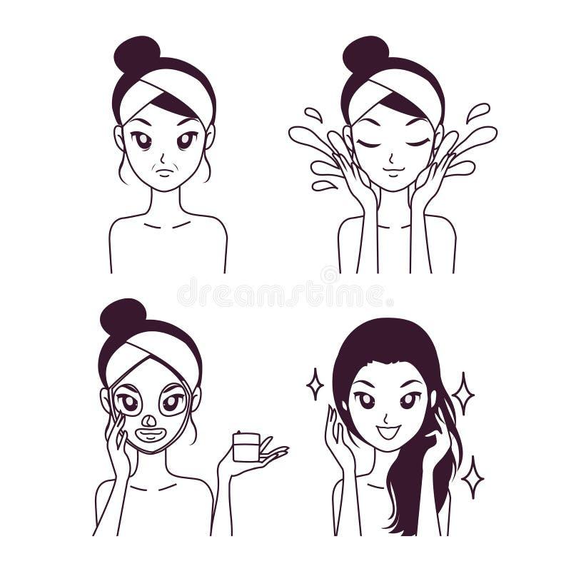 Tratamento da máscara para a cara bonita da menina mais nova ilustração stock