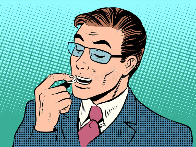 Tratamento da tabuleta da saúde do homem de medicina ilustração do vetor