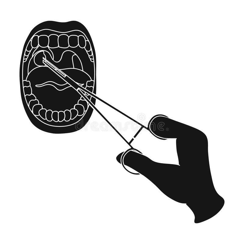Tratamento das amídalas na cavidade oral Único ícone da medicina na Web preta da ilustração do estoque do símbolo do vetor do est ilustração stock
