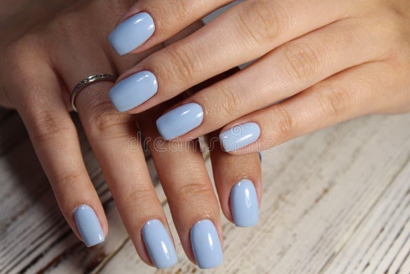 tratamento de mãos azul bonito imagem de stock royalty free
