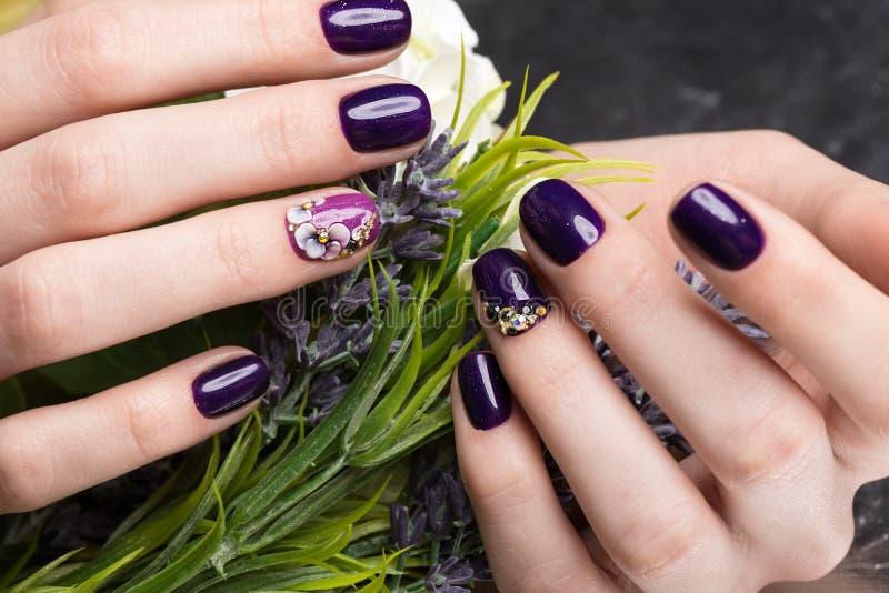 Tratamento de mãos bonito disparado com as flores nos dedos fêmeas Projeto dos pregos Close-up fotos de stock