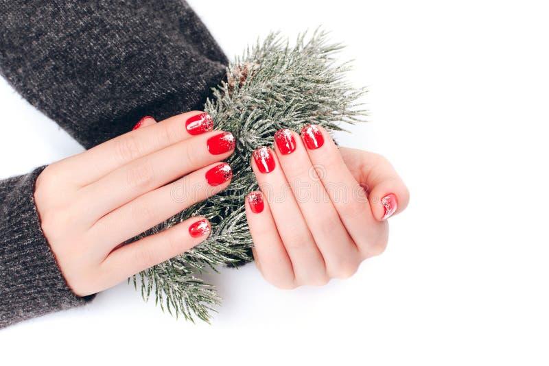 Tratamento de mãos bonito do Natal fotos de stock