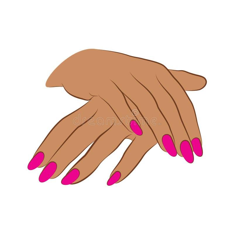 tratamento de mãos cor-de-rosa de 2 mãos ilustração stock