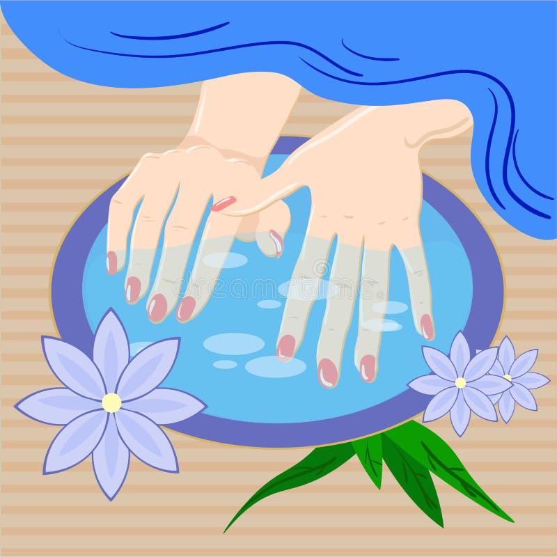 Tratamento de mãos, cuidado da mão A mulher s manicured as mãos com bacia e flores, ilustração do vetor ilustração stock