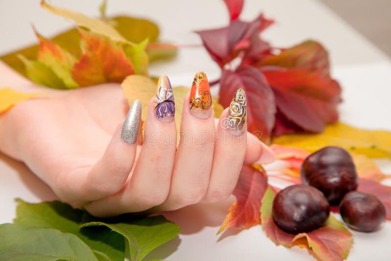 Tratamento de mãos - foto do tratamento da beleza das unhas manicured agradáveis da mulher fotos de stock royalty free