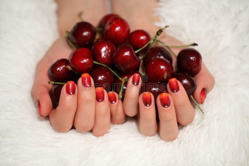 Tratamento de mãos - foto do tratamento da beleza das unhas manicured agradáveis da mulher foto de stock