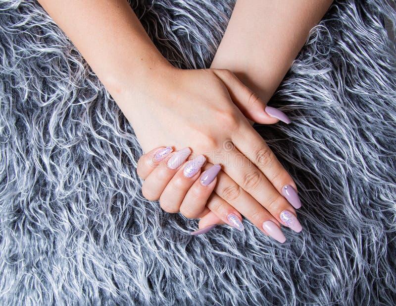 Tratamento de mãos perfeito com arte na moda do prego em Gray Fur Pelt falsificado imagem de stock royalty free