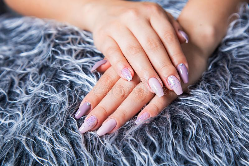 Tratamento de mãos perfeito com arte na moda do prego em Gray Fur Pelt falsificado fotografia de stock royalty free