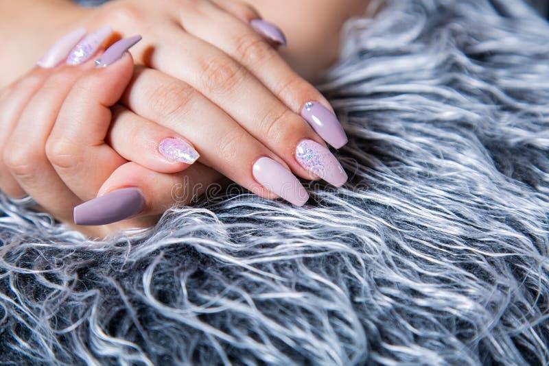 Tratamento de mãos perfeito com arte na moda do prego em Gray Fur Pelt falsificado imagens de stock