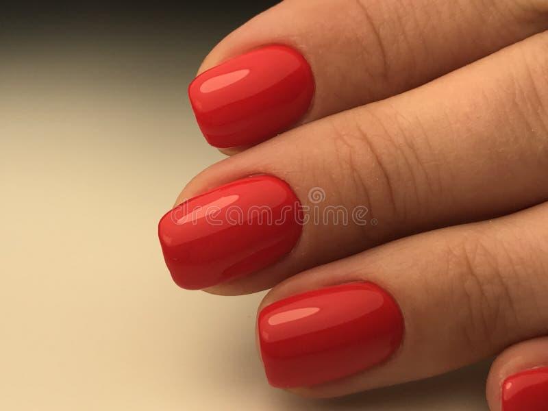 Tratamento de mãos profundo perfeito com os pregos vermelhos do polimento do gel imagens de stock royalty free