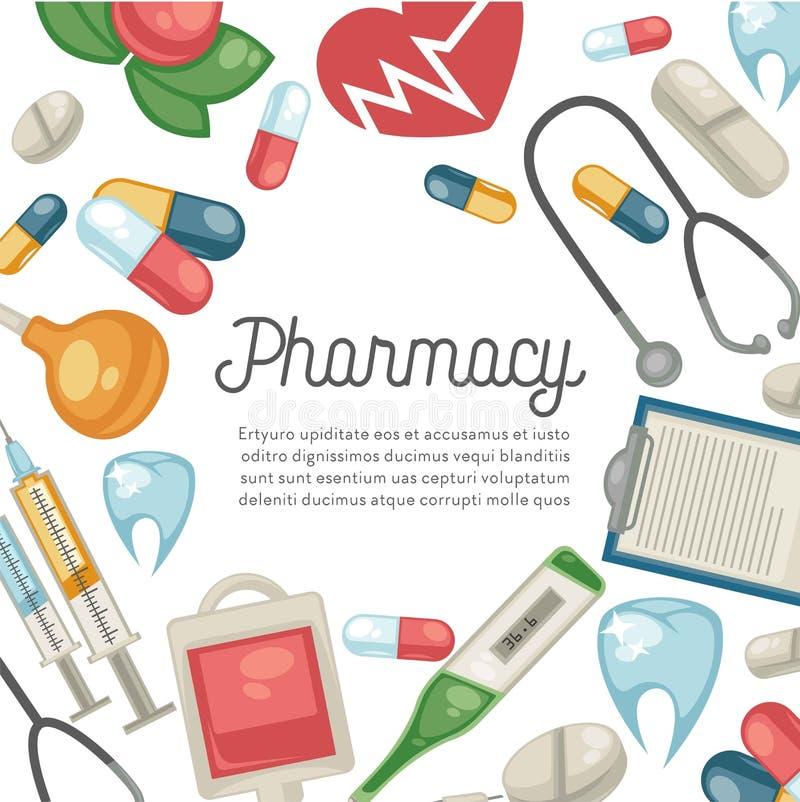 Tratamento dos comprimidos e da seringa da farmácia e terapia e odontologia dos cuidados médicos ilustração stock