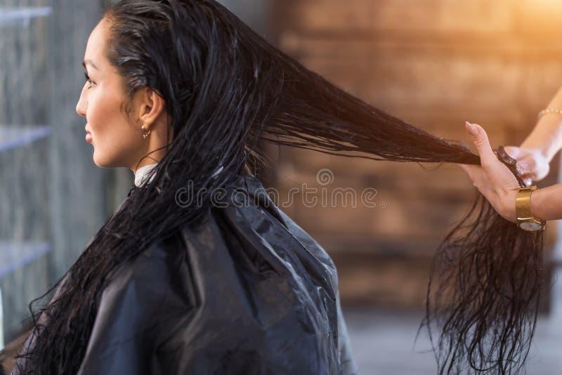 Tratamento dos termas para o cabelo longo Cuidado, recuperação da queratina foto de stock