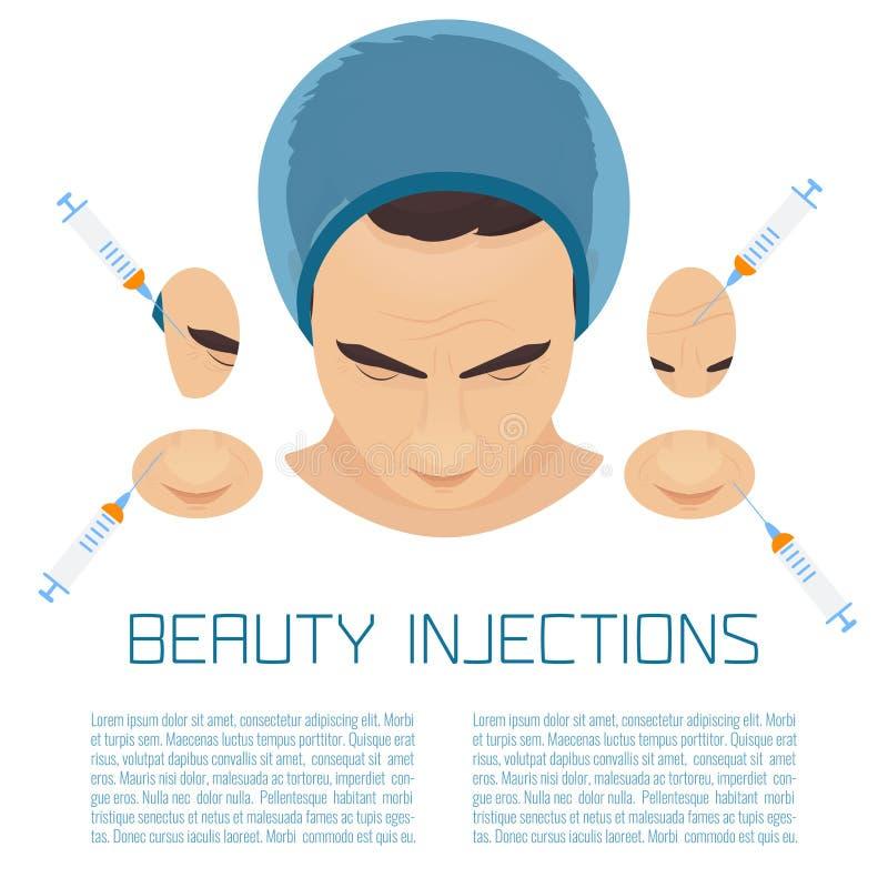 Tratamento facial de PRP para homens ilustração do vetor