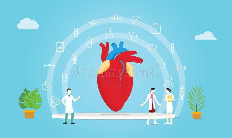 Tratamento humano do doutor e da enfermeira da equipe da saúde do coração com propagação médica do ícone - ilustração do vetor ilustração royalty free