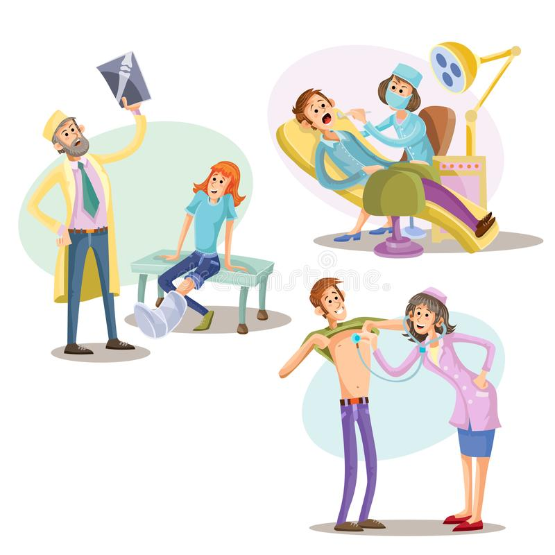 Tratamento médico, ilustração do vetor dos cuidados médicos ilustração do vetor
