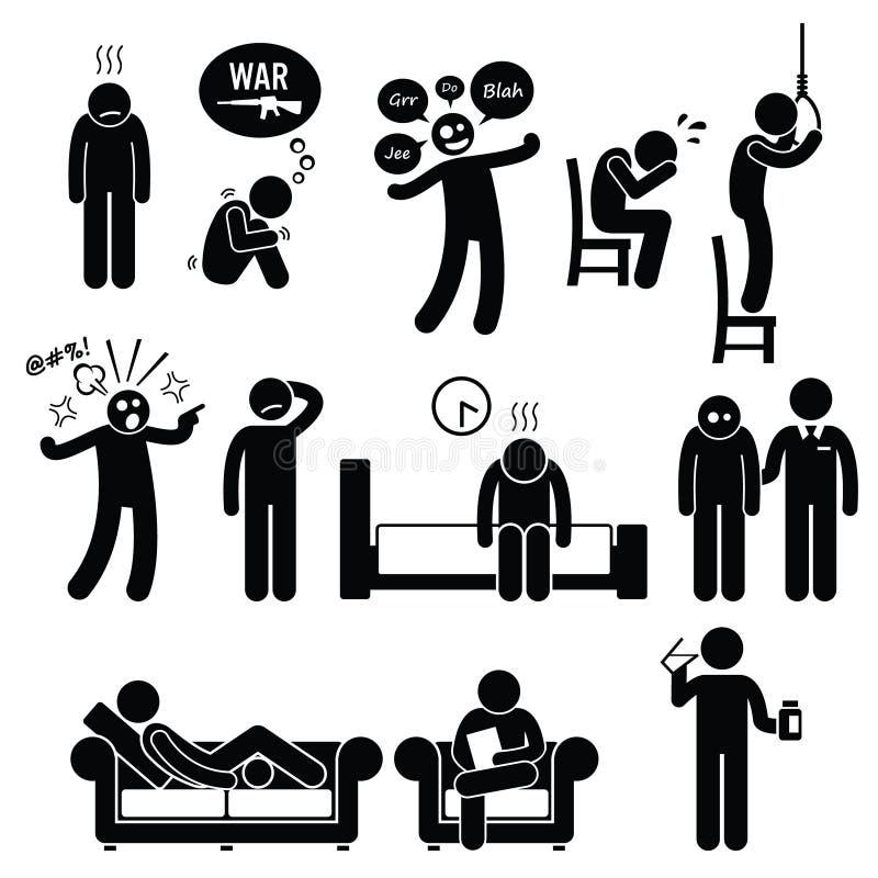 Tratamento psiquiátrica da doença do problema do transtorno mental da psicologia ilustração royalty free