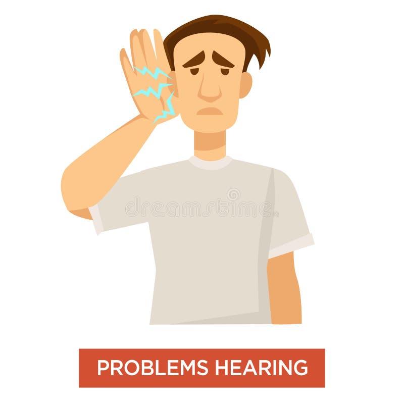 Tratamento surdo da deficiência orgânica da orelha do homem do problema da audição ilustração do vetor