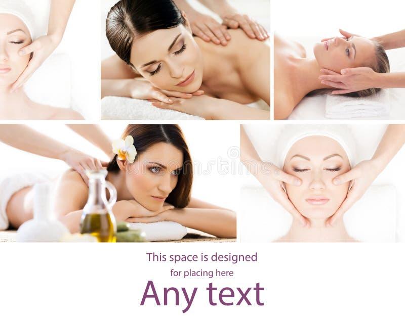 Tratamento tradicional da massagem e dos cuidados médicos nos termas Meninas novas, bonitas e saudáveis que têm a terapia da recr fotos de stock royalty free