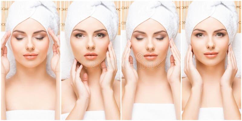 Tratamento tradicional da massagem e dos cuidados médicos nos termas Meninas novas, bonitas e saudáveis que têm a terapia da recr fotos de stock