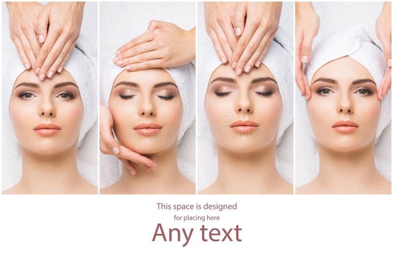 Tratamento tradicional da massagem e dos cuidados médicos nos termas Meninas novas, bonitas e saudáveis que têm a terapia da recr foto de stock royalty free