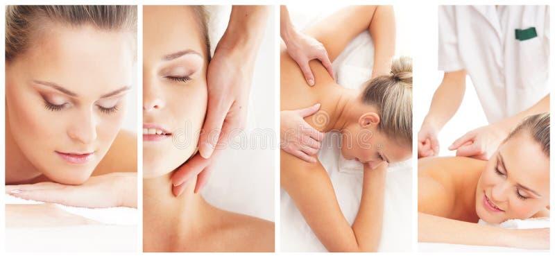 Tratamento tradicional da massagem e dos cuidados médicos nos termas Meninas novas, bonitas e saudáveis que têm a terapia da recr fotografia de stock