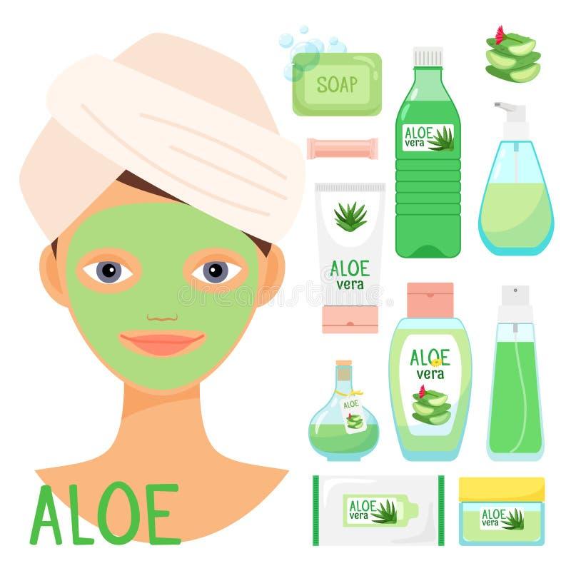 Tratamentos da beleza com ilustração orgânica do vetor dos cosméticos de vera do aloés ilustração royalty free