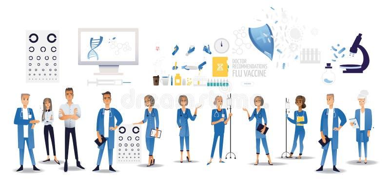 Tratamentos dos pacientes do médico e da enfermeira e pictograma lisos do exame com o abstrato dos símbolos dos cuidados médicos  imagem de stock royalty free