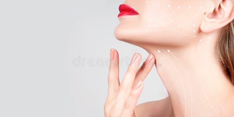 Tratamiento antienvejecedor Cuello hermoso de la mujer con las líneas del masaje fotografía de archivo