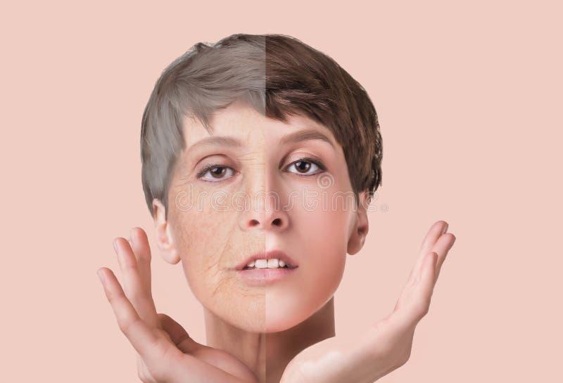 Tratamiento antienvejecedor, de la belleza, envejecimiento y juventud, levantando, skincare, concepto de la cirugía plástica imagenes de archivo