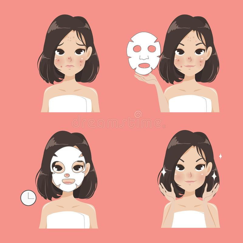 Tratamiento de la hoja de la máscara de la mujer hermosa stock de ilustración