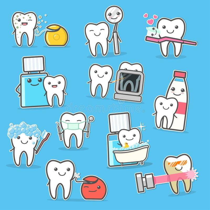Tratamiento e higiene sanos del cuidado de los dientes Ilustración del vector de la historieta stock de ilustración