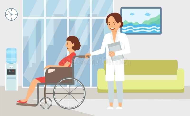 Tratamiento el hospitalizado en el ejemplo plano del hospital stock de ilustración