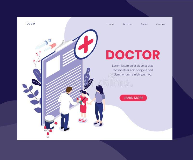Tratamiento en línea del doctor con concepto isométrico de las ilustraciones del teléfono móvil stock de ilustración