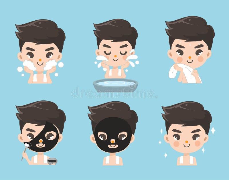Tratamiento facial del fango para los hombres stock de ilustración