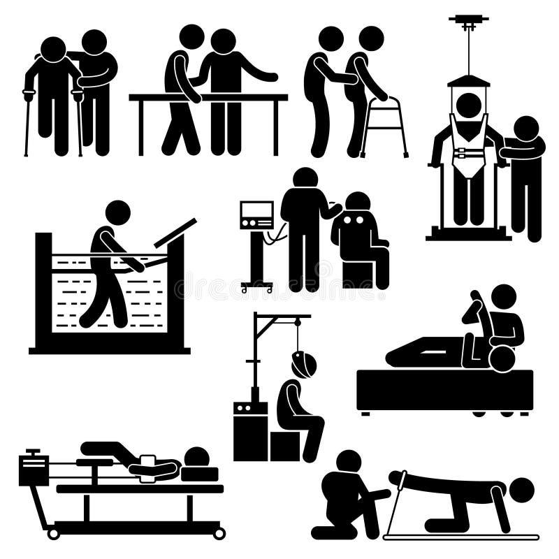 Tratamiento fisio Clipart de la fisioterapia y de la rehabilitación stock de ilustración
