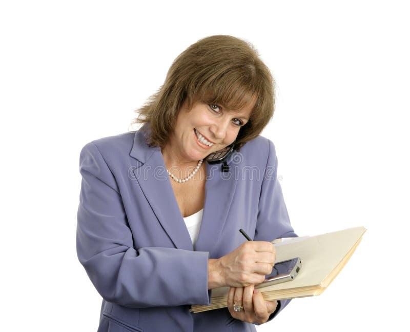 Tratamiento o de la mujer de negocios foto de archivo