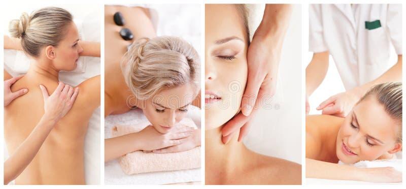 Tratamiento tradicional del masaje y de la atención sanitaria en balneario Muchachas jovenes, hermosas y sanas que tienen terapia fotos de archivo libres de regalías