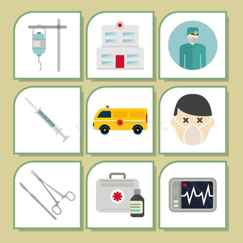 Tratamiento urgente del paramédico de la ayuda de la píldora de la farmacia del hospital de la emergencia de la salud de la medic stock de ilustración