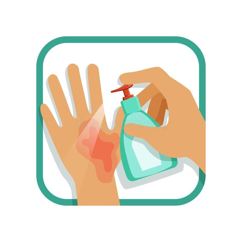 Tratar lesión de mano con el antiséptico Tratamiento de los cuidados en casa Quemadura primer grada Elemento plano del diseño del stock de ilustración