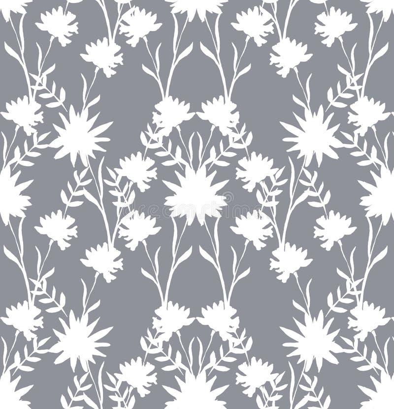 Trate el modelo con suavidad inconsútil de las siluetas de las flores blancas en un fondo gris claro Estilo de China ilustración del vector