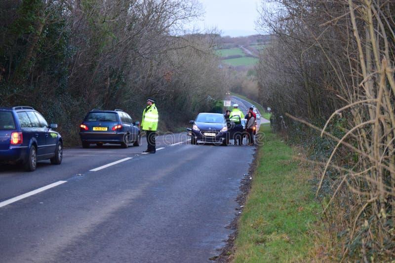 Trato de la policía de Devon y de Cornualles con el RTC imágenes de archivo libres de regalías