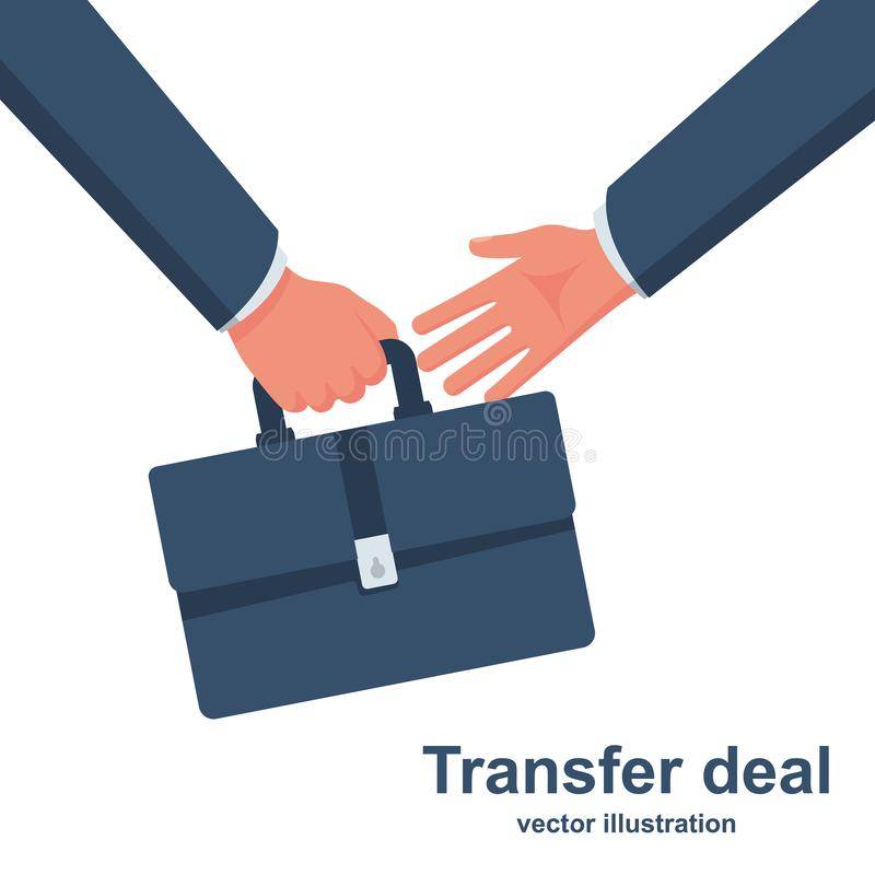 Trato de la transferencia Hombre de negocios que sostiene una cartera a disposici?n ilustración del vector