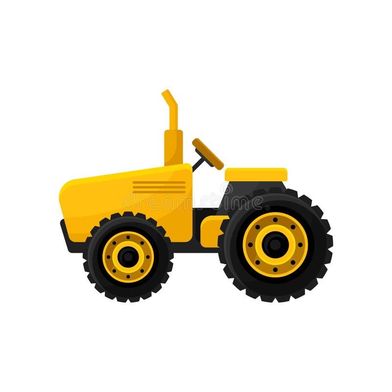 Trator amarelo brilhante pequeno Maquinaria agrícola profissional Equipamento agrícola para o trabalho no campo Projeto liso do v ilustração stock