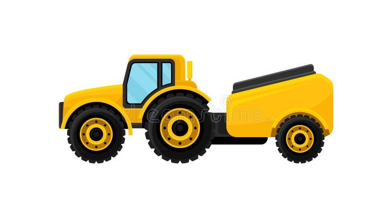 Trator amarelo com o tanque para a água Máquina de semear Elemento liso do vetor para anunciar a bandeira ilustração royalty free