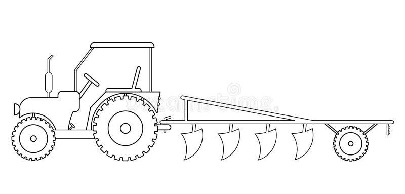 Trator com maquinaria agrícola para o trabalho de campo ilustração do vetor