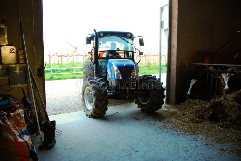 Trator de exploração agrícola na área rural foto de stock royalty free