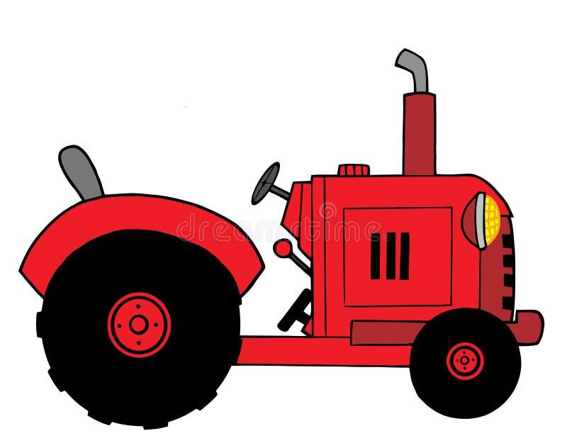 Trator de exploração agrícola vermelho ilustração royalty free