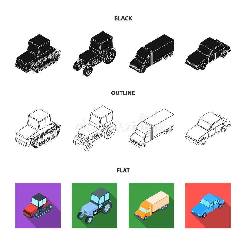 Trator, trator de lagarta, caminhão, carro Ícones ajustados da coleção do transporte em preto, liso, estoque do símbolo do vetor  ilustração stock