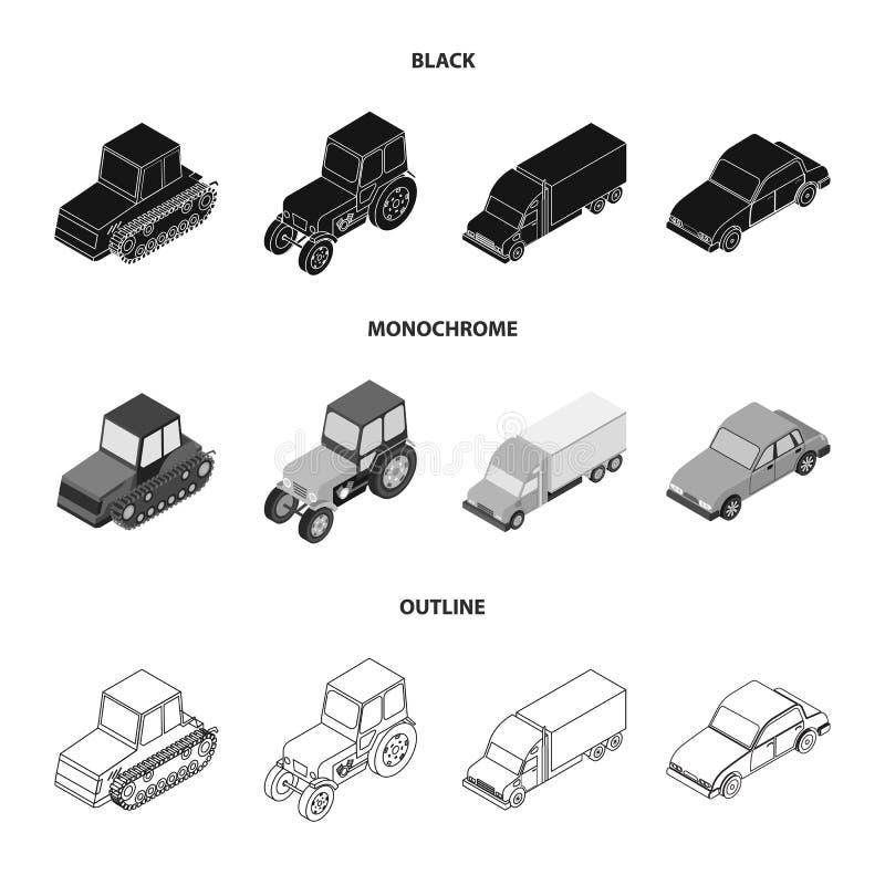 Trator, trator de lagarta, caminhão, carro Ícones ajustados da coleção do transporte em preto, monocromático, símbolo do vetor do ilustração royalty free